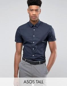 Темно-синяя приталенная рубашка ASOS TALL - Темно-синий