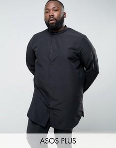 Черная супердлинная рубашка классического кроя с воротником на пуговице ASOS PLUS - Черный