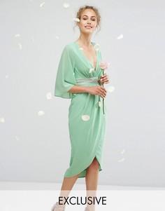 Платье миди с рукавами-кимоно и запахом на юбке TFNC WEDDING - Зеленый