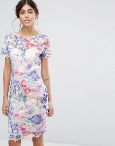 Кружевное платье с принтом Paper Dolls - Мульти