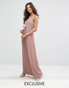 Платье макси на одно плечо с отделкой TFNC WEDDING - Розовый