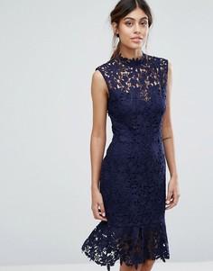 Кружевное платье с высокой горловиной и баской Paper Dolls - Темно-синий