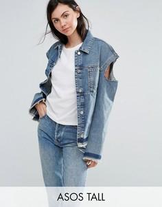 Джинсовая куртка с открытыми плечами ASOS TALL - Синий