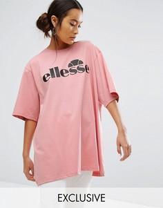 Oversize-футболка с контрастным логотипом Ellesse - Розовый