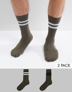 Комплект из 2 пар спортивных носков цвета хаки ASOS - Зеленый