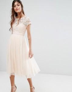 Платье миди с кружевным верхом, короткими рукавами и юбкой из тюля Little Mistress - Розовый