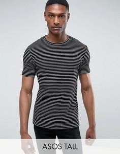 Облегающая футболка удлиненного кроя в полоску и рубчик ASOS TALL - Черный