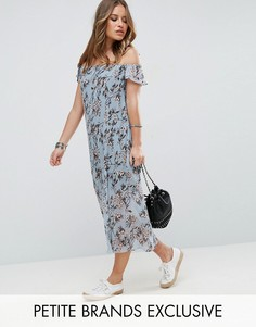 Плиссированное платье макси с открытыми плечами и цветочным принтом Glamorous Petite - Мульти