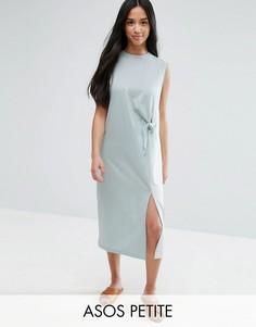 Платье миди без рукавов в стиле колор блок с необработанными краями и завязкой ASOS PETITE - Зеленый