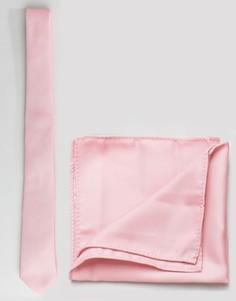 Светло-розовый галстук и платок для пиджака ASOS - Розовый