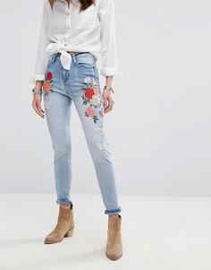 Облегающие джинсы с завышенной талией и вышивкой Boohoo - Синий