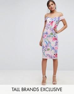Платье-футляр с открытыми плечами и цветочным принтом Paper Dolls Tall - Мульти