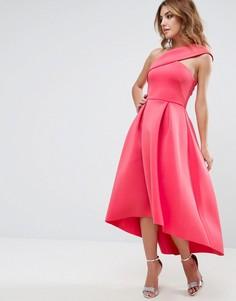 Приталенное платье миди на одно плечо с удлиненным кроем сзади ASOS - Розовый