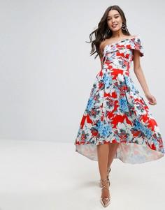 Приталенное платье миди на одно плечо с асимметричным подолом ASOS - Мульти
