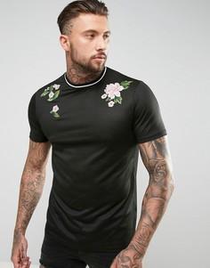 Сетчатая длинная футболка с цветочной вышивкой ASOS - Черный