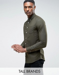Оксфордская рубашка цвета хаки Burton Menswear TALL - Зеленый