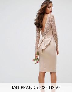 Платье миди с кружевным верхом Club L Tall - Розовый