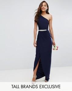 Платье макси на одно плечо с декорированным поясом Club L Tall - Темно-синий