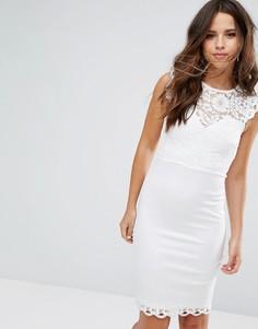 Кружевное облегающее платье Lipsy - Белый