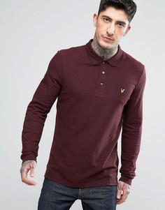 Однотонная футболка-поло с длинными рукавами Lyle & Scott - Красный