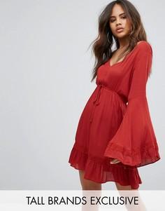 Платье из жатого материала с рукавами клеш Missguided Tall - Оранжевый