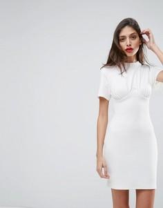 Корсетное платье мини в рубчик с чашечками на косточках ASOS - Белый