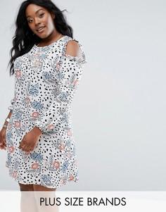 Платье с цветочным принтом и открытыми плечами Alice & You - Мульти