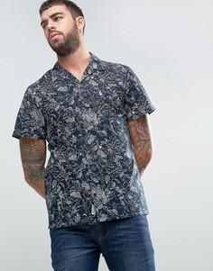 Темно-синяя рубашка классического кроя с короткими рукавами и принтом карты Jack Wills Billows - Темно-синий