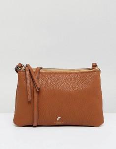 Светло-коричневая сумка через плечо с молнией сверху Fiorelli - Рыжий