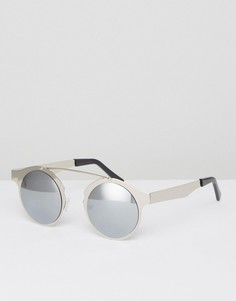 Круглые солнцезащитные очки с планкой сверху Spitfire - Серебряный
