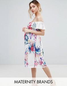 Платье с открытыми плечами и тропическим принтом Bluebelle Maternity - Мульти