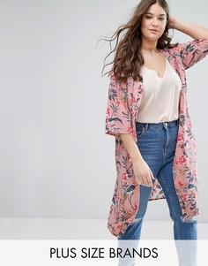Легкое пальто с цветочным принтом New Look Plus - Розовый