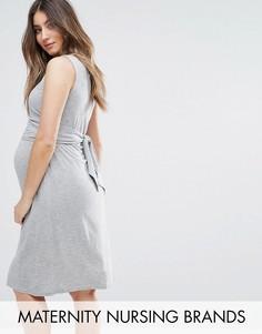 Трикотажное платье без рукавов для кормящих мам Mamalicious - Серый Mama.Licious