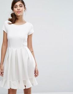 Платье миди с короткими рукавами Closet London - Белый