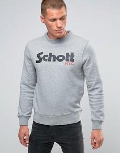 Свитшот с крупным логотипом и круглым вырезом Schott - Серый