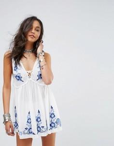 Платье-комбинация с вышивкой Free People Aida - Белый