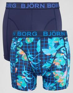 Боксеры-брифы из микрофибры с геометрическим и цветочным принтом (2 шт.) Bjorn Borg - Темно-синий