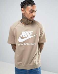 Бежевый свитшот с короткими рукавами Nike International 834306-235 - Бежевый