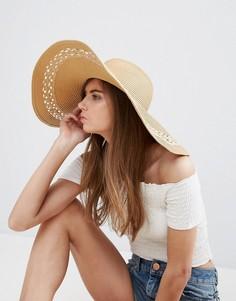 Шляпа с широкими полями и ажурной вставкой ASOS - Коричневый