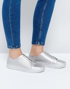 Кроссовки на шнуровке ASOS DATE NIGHT - Серебряный