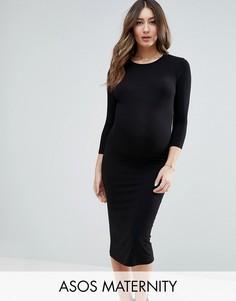 Облегающее платье миди с длинными рукавами ASOS Maternity - Черный