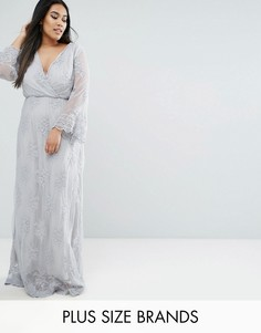 Кружевное платье макси с вышивкой и запахом Club L Plus - Серый