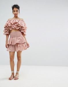 Мини-юбка с оборками Boohoo - Розовый