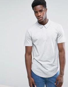 Трикотажная футболка-поло с закругленным низом Troy - Серый