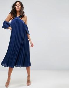 Плиссированное платье миди с открытыми плечами ASOS - Темно-синий