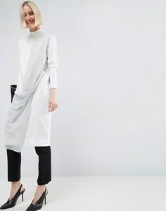 Трикотажное платье миди с шифоновой вставкой ASOS WHITE - Мульти