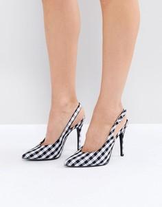 Туфли в клетку с ремешком через пятку New Look - Черный