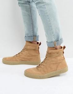 Замшевые кроссовки-ботинки песочного цвета со вспомогательной петлей ASOS - Светло-серый