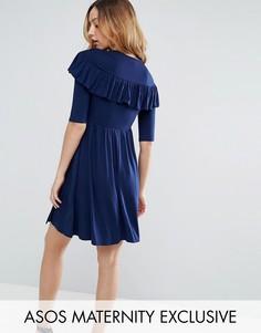 Чайное платье с рюшами и запахом ASOS Maternity - Темно-синий