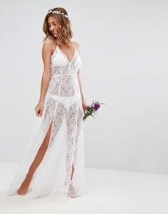 Кружевное пляжное платье макси ASOS BRIDAL - Белый